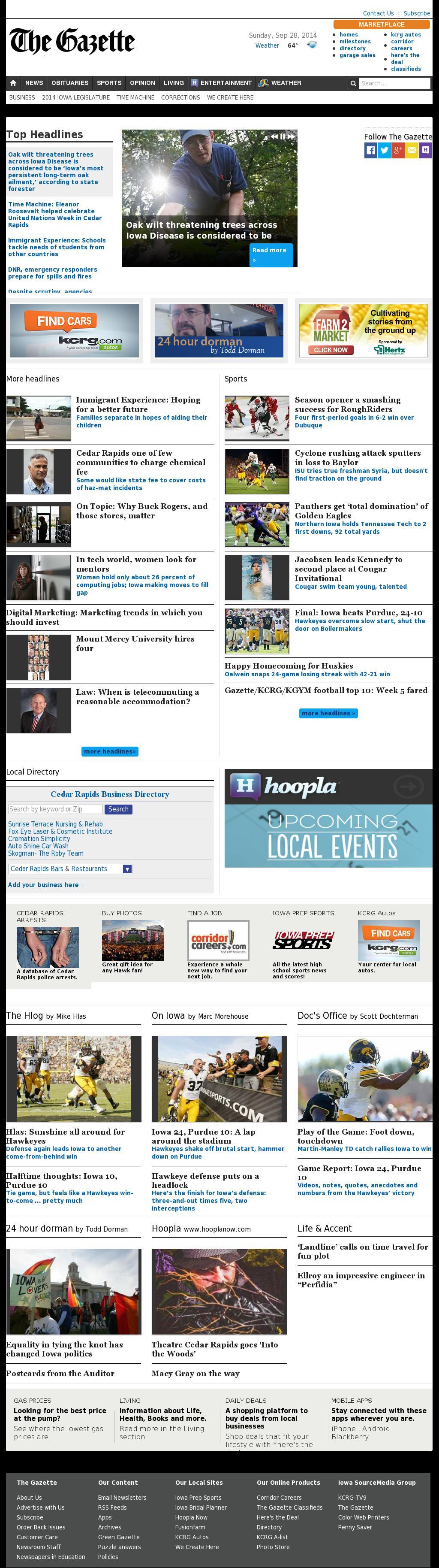 The (Cedar Rapids) Gazette at Sunday Sept. 28, 2014, 10:05 a.m. UTC