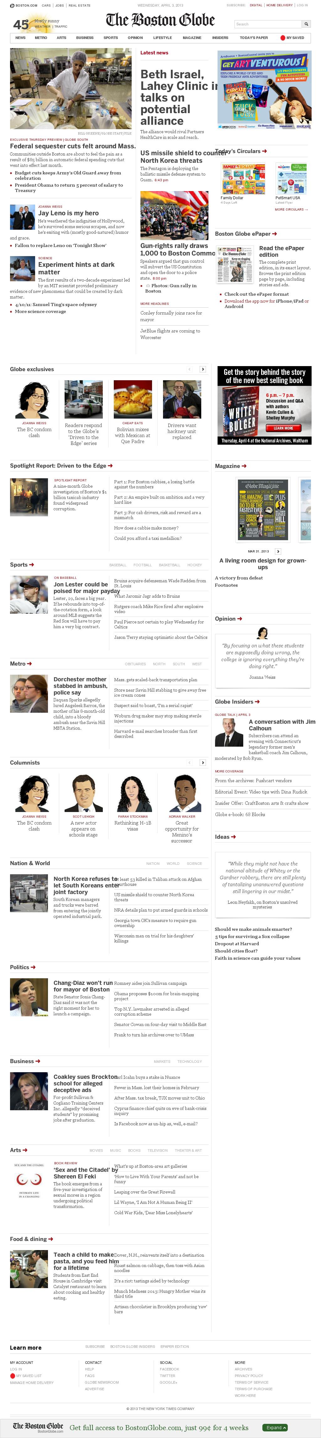 The Boston Globe at Wednesday April 3, 2013, 9:02 p.m. UTC