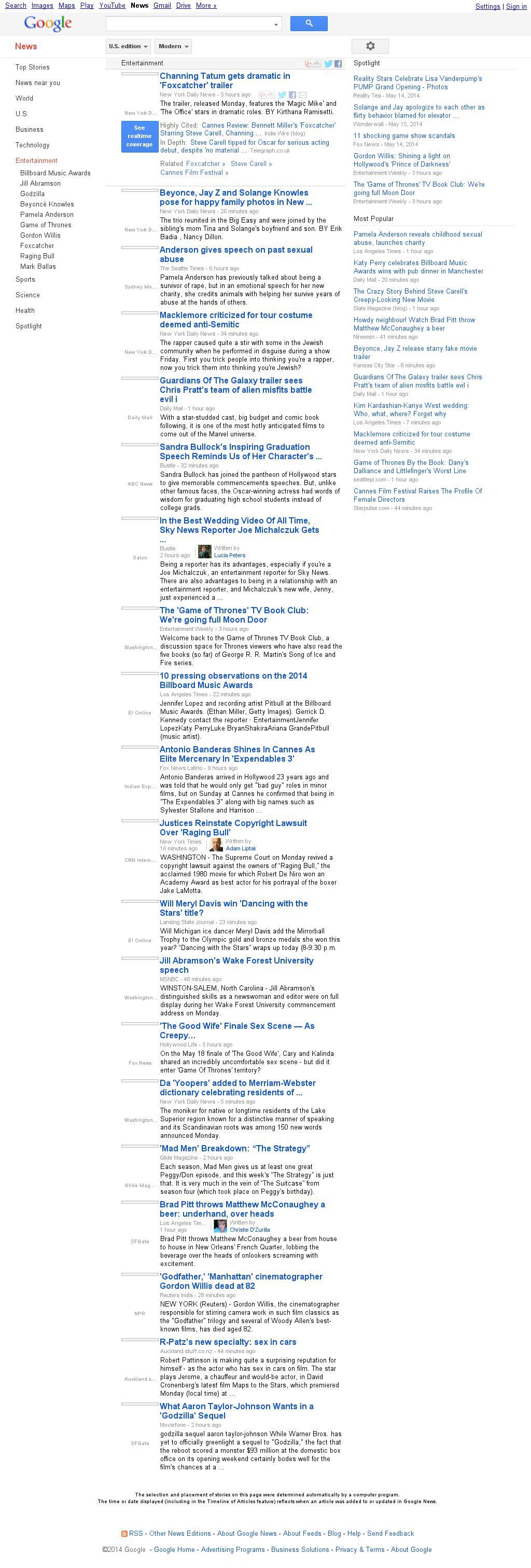 Google News: Entertainment at Tuesday May 20, 2014, 12:09 a.m. UTC