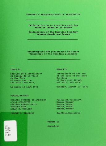 Cover of: Délimitation de la frontière maritime entre le Canada et la France | Canada
