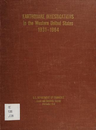 Cover of: Earthquake investigations in the Western United States, 1931-1964 | Dean S. Carder