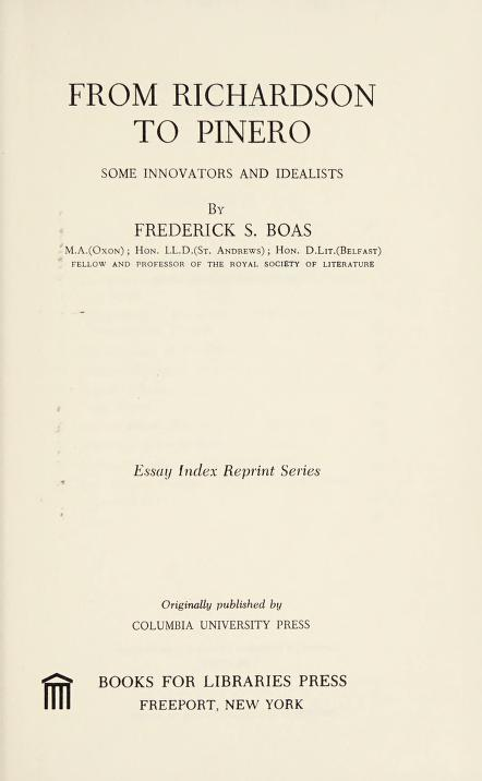 From Richardson to Pinero by Frederick S. Boas