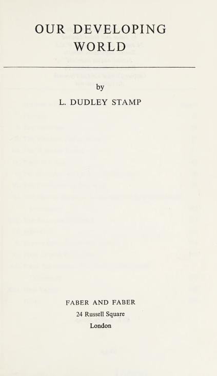 Our developing world by L. Dudley Stamp